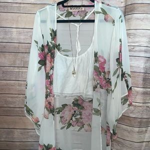 Sheer White Floral Kimono Cover-Up from Urban Outfitters by Reverse